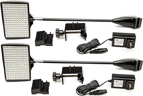 HitLights LED Display Lights, 12V DC Trade Show Light, Display and Exhibit LED Arm Lights Pop-Up Halogen Replacement, Includes UL Power Supply and Mounting Hardware 2Pack C-Clamp-Silver