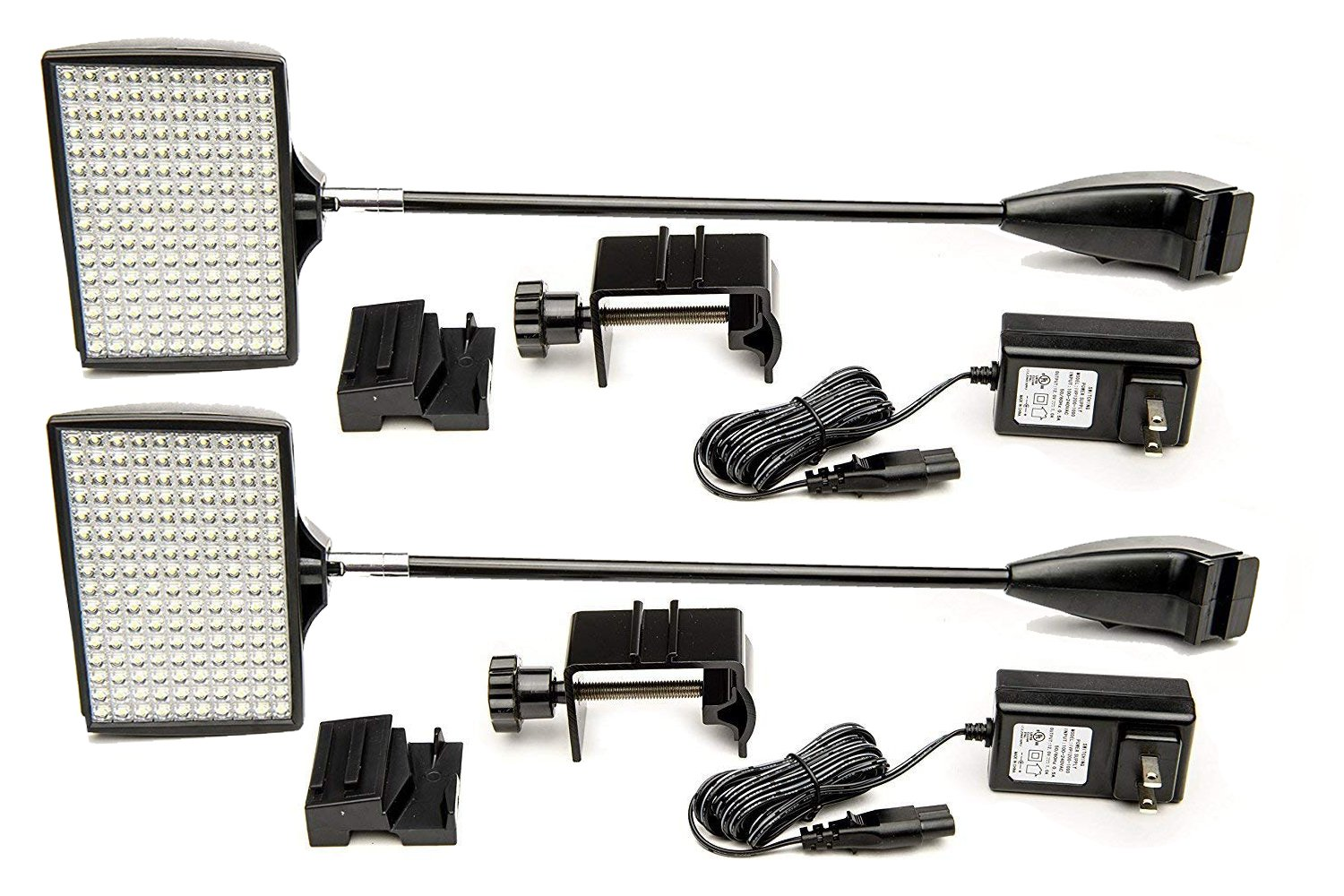 Trade Show Lights, HitLights 2 Packs LED Display and Exhibit 12V DC LED Arm Lights, Pop-Up Halogen Replacement, Includes UL Power Supply and Mounting Hardware (C-Clamp-Black)