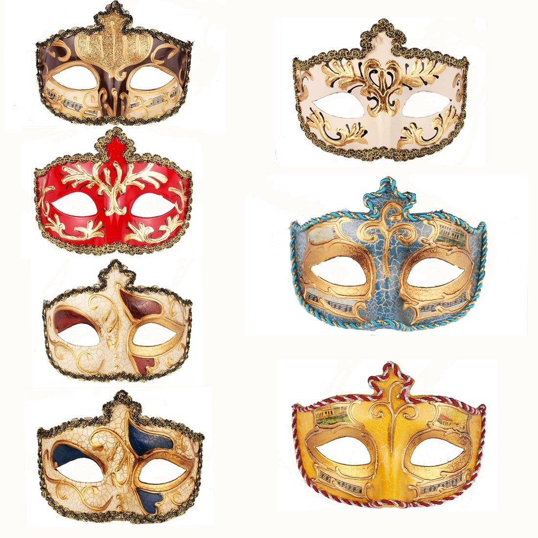 YUFENG 12pcs Set Evening Prom Venetian Masquerade Masks Costumes Party Accessory