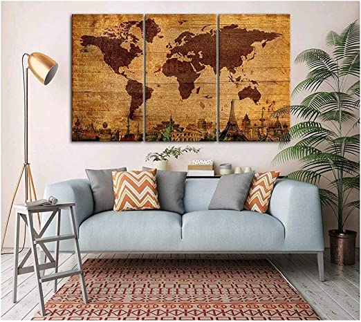 Amazon Com Visual Art World Map Home Decor Wall Art For Ofiice Posters Retro Brown Yellow Tone Wood Grain Background Color Global Earth Canvas Prints Hd Ready To Hang For Living Room 20 X