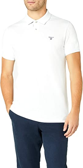 TALLA S. GANT Contrast Collar PIQ SS Rugger Polo para Hombre