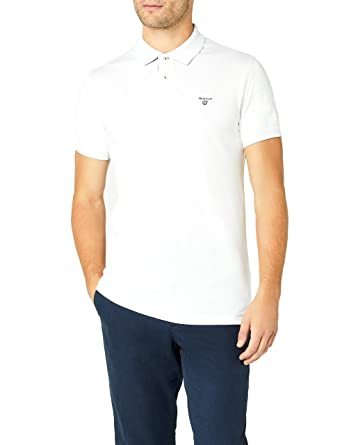 48ff3e1aa41e Gant Contrast Collar Pique Rugger Men's Polo Shirt, White/Blue at Amazon  Men's Clothing store: