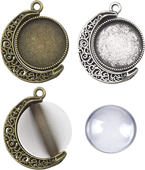 2 double sided setting round pendant 4 x 30 mm glass domes bronze or silver