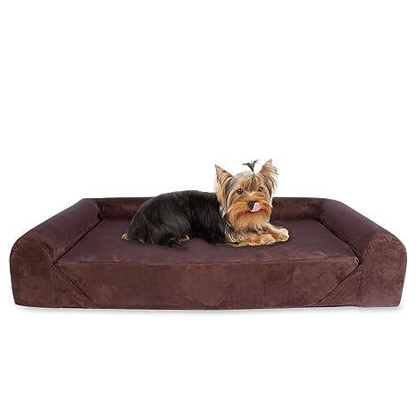 Kopers Sofa Cama Lounge para Perros y Gatos Mascotas de Tamaño Pequeño a Mediano con Memoria Viscoelástica Ortopédica, 73 x 60 x 14 cm, S - M, marrón
