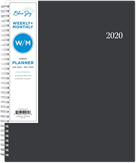 Flexible Cover 8.5 x 11 Twin-Wire Binding Endless Summer Blue Sky 2018-2019 Academic Year Weekly /& Monthly Planner