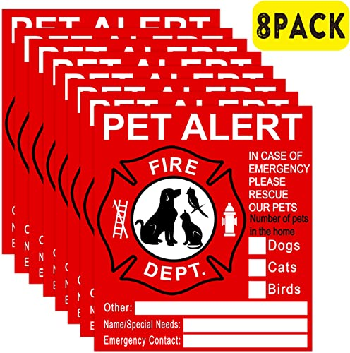 Pet Inside Sticker – 8 Pack Pet Alert Safety Fire Rescue Sticker Decal-Save Our Cat Dog Pets In a Fire Emergency, Firefighters will See Alert on The Window, Door, or House and Rescue Our Family.