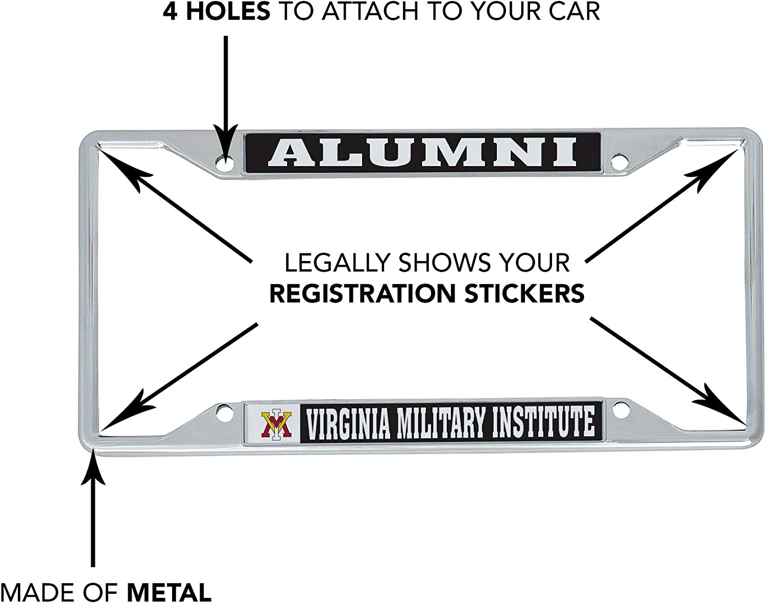 Alumni Desert Cactus Virginia Military Institute VMI Keydets NCAA Metal License Plate Frame for Front Back of Car Officially Licensed
