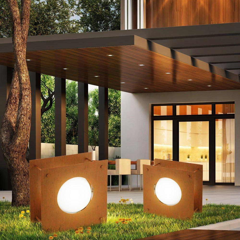 Juego de 2 lámparas de piso terrazas al aire libre Soporte luces IP54 conjunto incl. Lámparas LED: Amazon.es: Iluminación