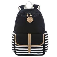 S-ZONE Preppy French Breton Nautical Striped Backpack Rucksack Marine Sailor Navy Stripy School Bags for Women Ladies Girls