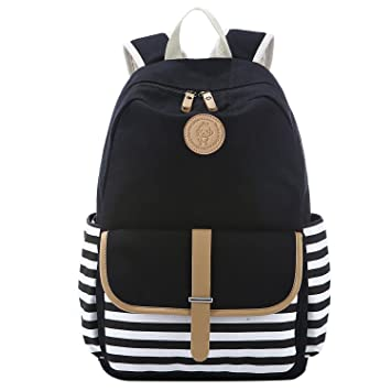 c5544fc40 S-ZONE French Breton Nautical Striped Backpack Rucksack Marine Sailor Navy  Stripy School Bags for