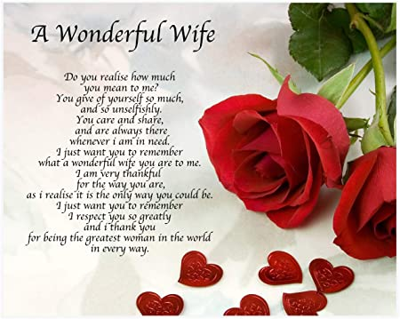 My Lovely Wife Heart Flowers /& Gifts Design Large Christmas Card Lovely Verse