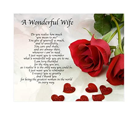 personalised a wonderful wife poem valentines day birthday christmas anniversary husband wife boyfriend girlfriend present gift