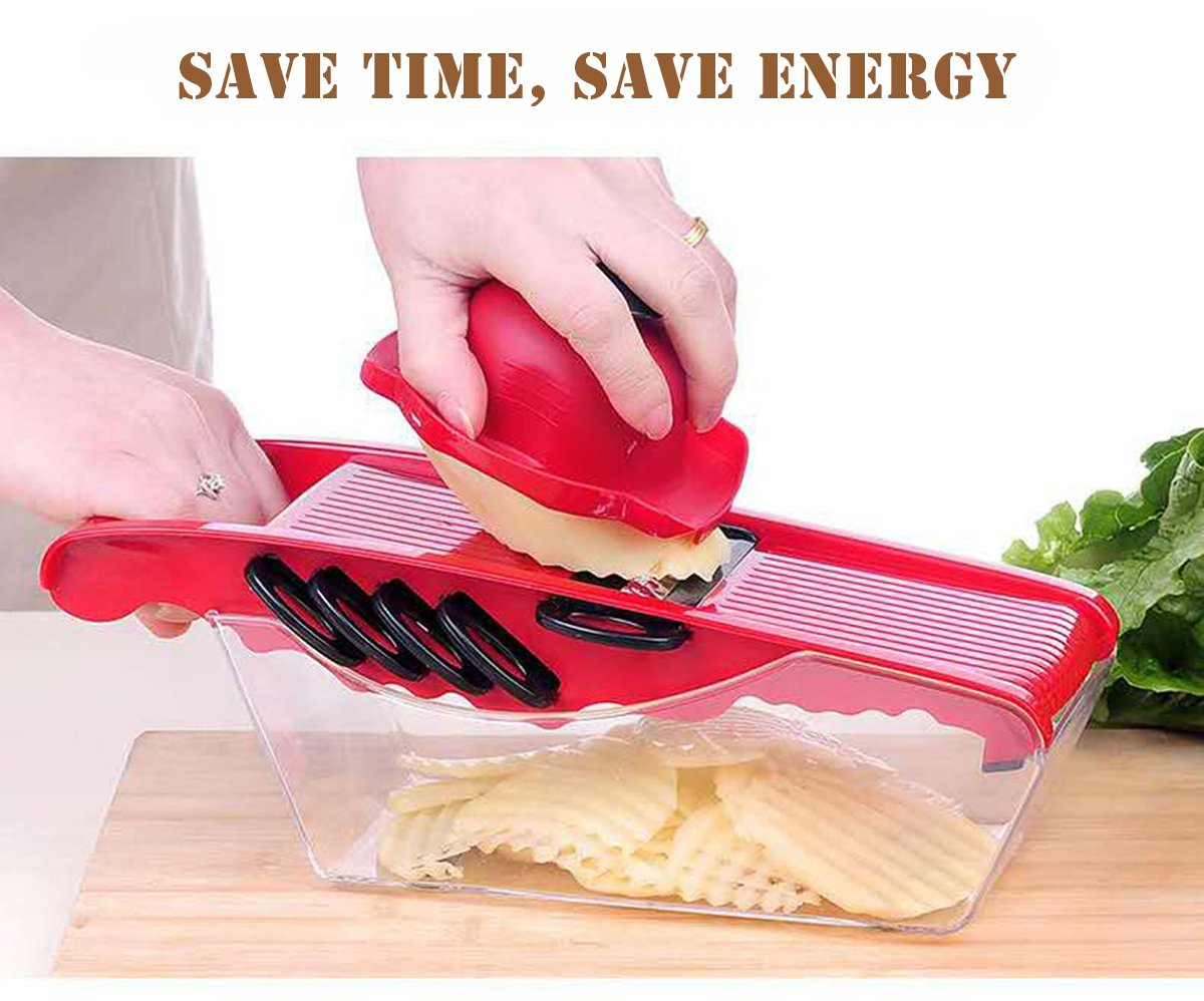5 in 1 Multifunction Vegetable Mandoline Slicer, Cut Coarse Silk and Filaments, Sliced Slices, Flower Slices and Cheese Grater with Container (Red)