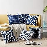 "AEROHAVEN Abstract Satin Throw Pillow Cushion Covers - 16"" x 16"", 6 Piece, Blue"