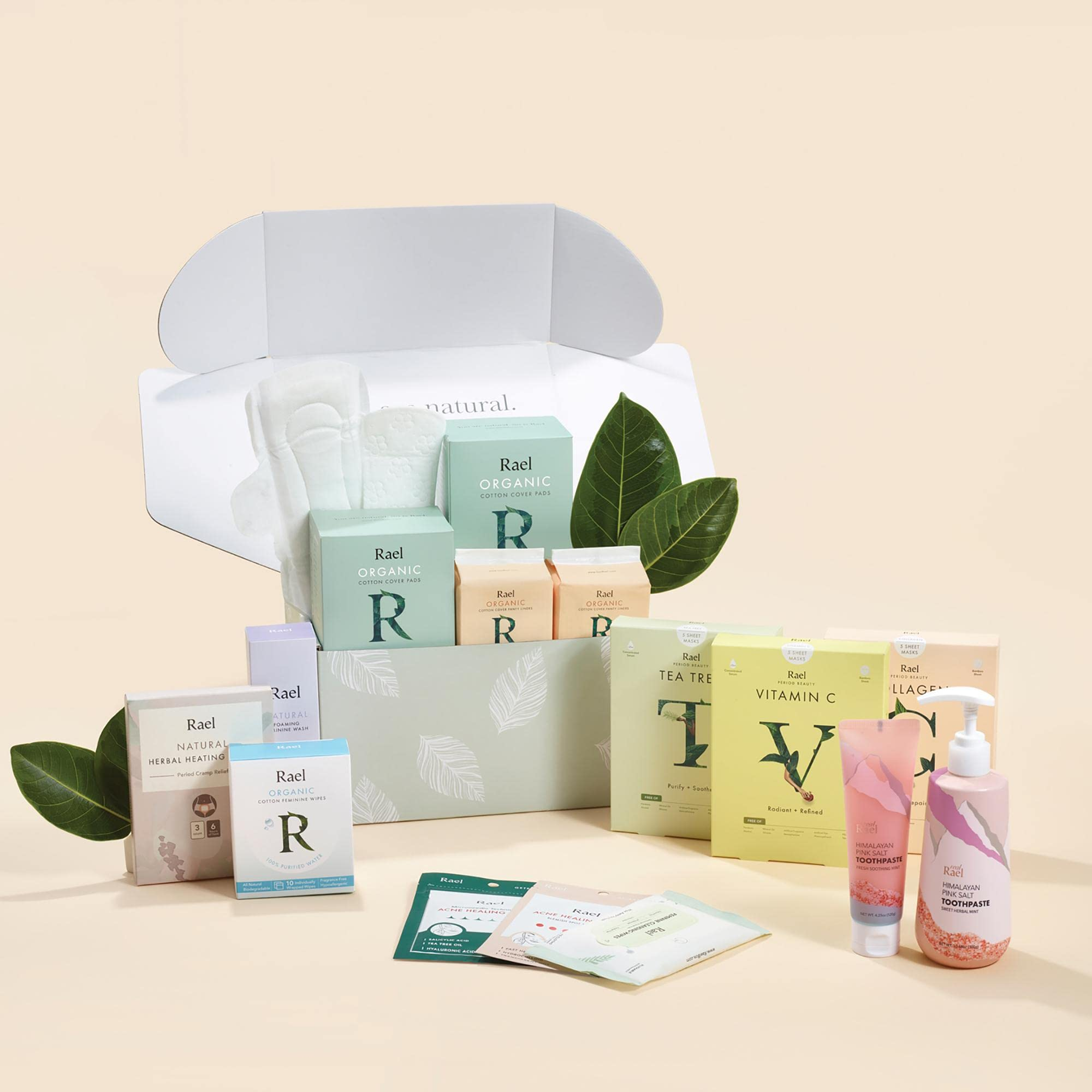 Rael subscription box with tampons, pads, supplements, toiletries, and more.