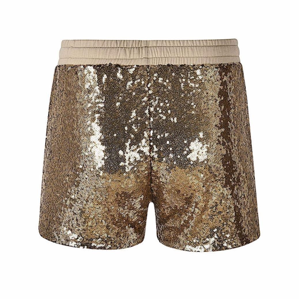 MCYs Damen Sequin Shine Glitter Shorts verschönert Party Kurze Hose Mitte  Taille Tasche Shorts Casual Hot Pants Club Nachtclub Paillette verschönert  Party ... 5256e742a6