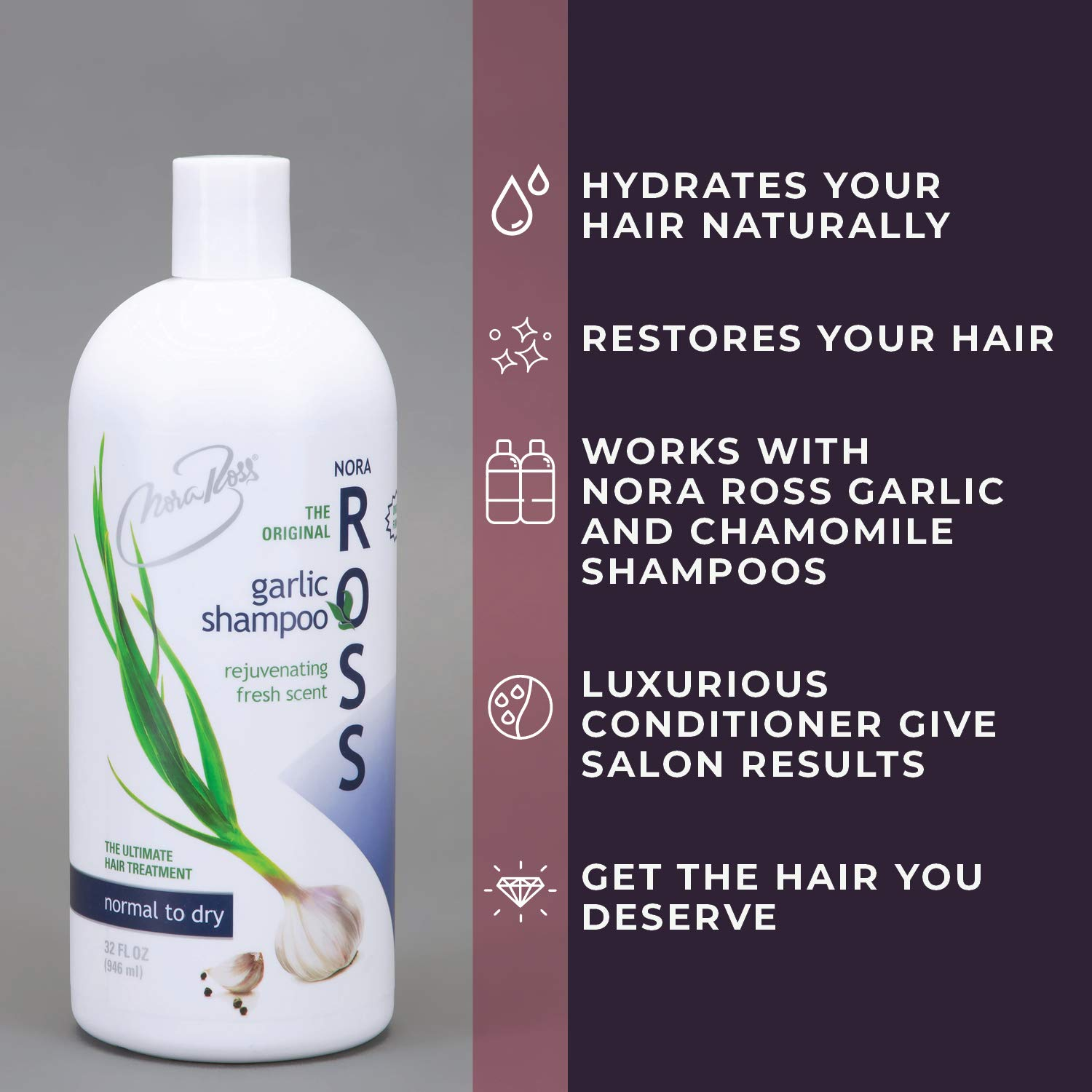 Nora Ross Garlic Shampoo for normal to dry hair /Garlic shampoo for hair loss