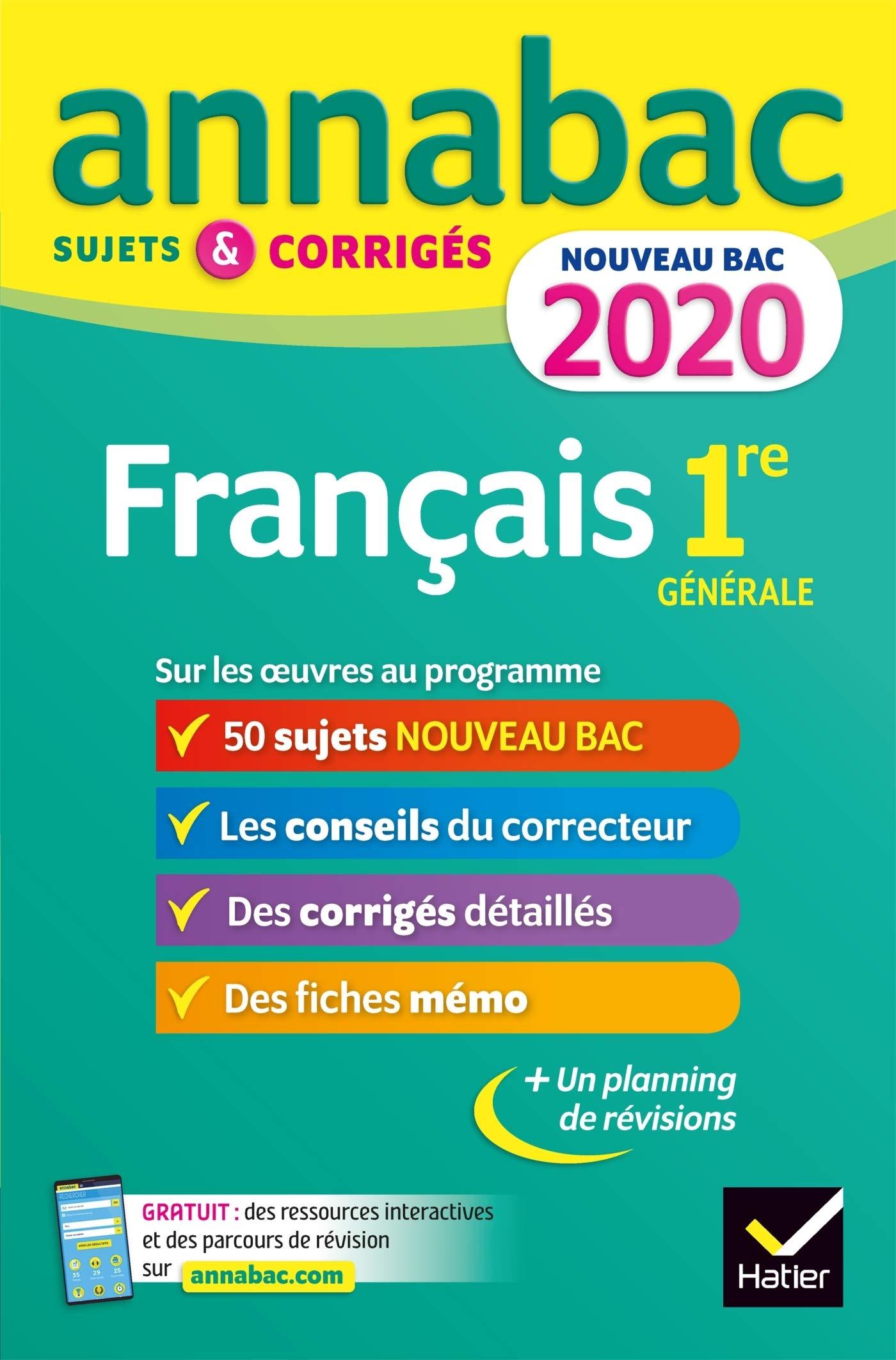 Annales Annabac 2020 Francais 1re Generale Sujets Et