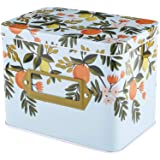 Yesland Recipe Box - 6.25 x 4.25 x 5 Inches Decorative Tin Box with Orange Patern - Gift Box for Keeping Recipe Card & Divide