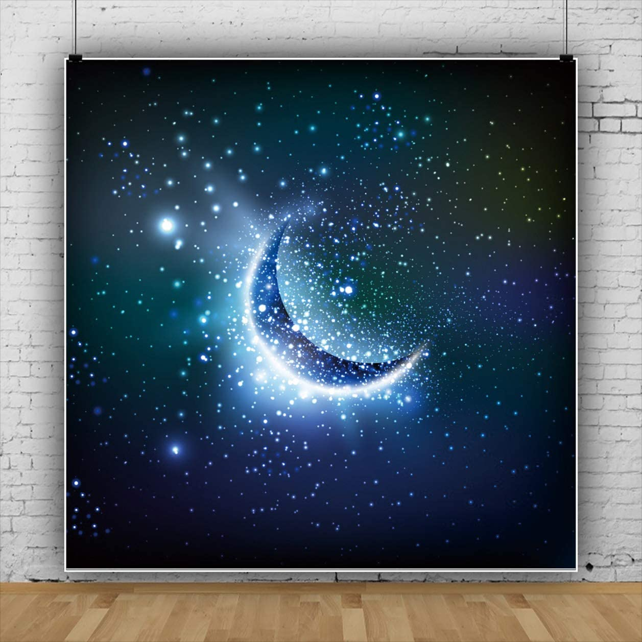 YEELE Shiny Crescent Moon Backdrop 6.5x6.5ft Twinkle Stars in Deep Space Starry Sky Photography Background Sci-fi Event Space Theme Kids Birthday Party Photobooth Studio Props Digital Wallpaper