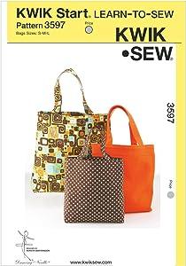 Kwik Sew K3597 Bags Sewing Pattern, Size S-M-L