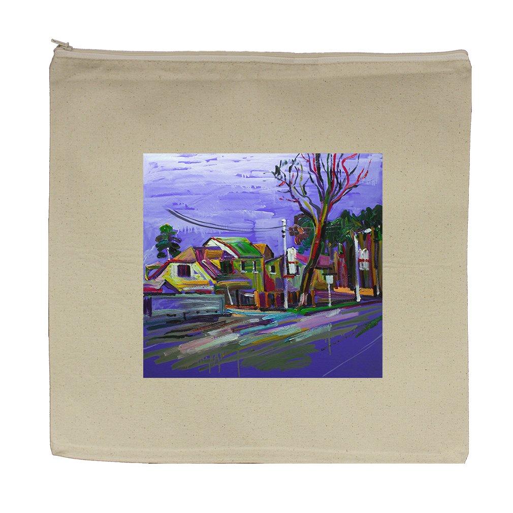 Canvas Zipper Pouch Tote Bag 5.5''X7.5'' Original Painting Country Rain Modern