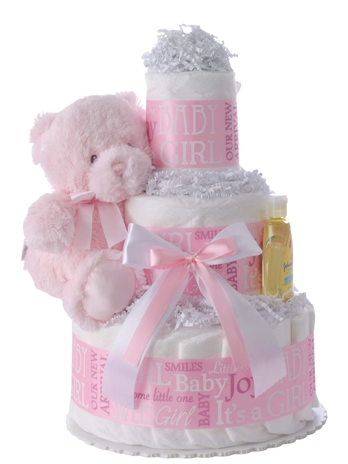Baby Girl 3 Tier Diaper Cake - Beautiful Baby Gift for Girls with Usable Pamper Swaddler Diapers (Size 1) - Designed by Lil' Baby Cakes (10 inches Wide x 12 inches Tall)