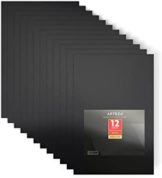 Arteza Black Foam Boards, Pack of 12, 20 x 30 x 0.2 inches, Smooth Double Sided Craft Foam Sheet, Art Supplies for School and Office Projects and Presentations