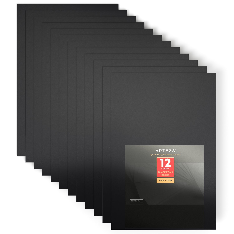 Arteza 20'' X 30'' X 1/5'' Black Foam Boards, Double Sided, Lightweight Craft Poster Board, Ideal for Presentations, School, Office & Art Projects (Set of 12)