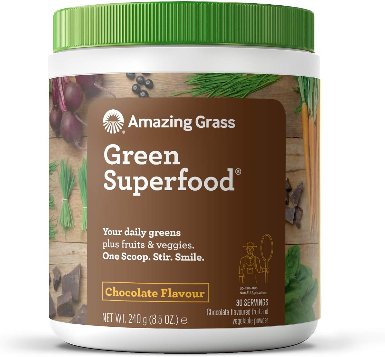 Amazing Grass Green Superfood, Suplemento Alimenticio en Polvo a base de Frutas, Verduras y Superalimentos Organicos con Probioticos y Enzimas Digestivas, Chocolate