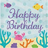 Creative Converting 317262 16 Count Paper Lunch Napkins, Happy Birthday, Mermaid Friends