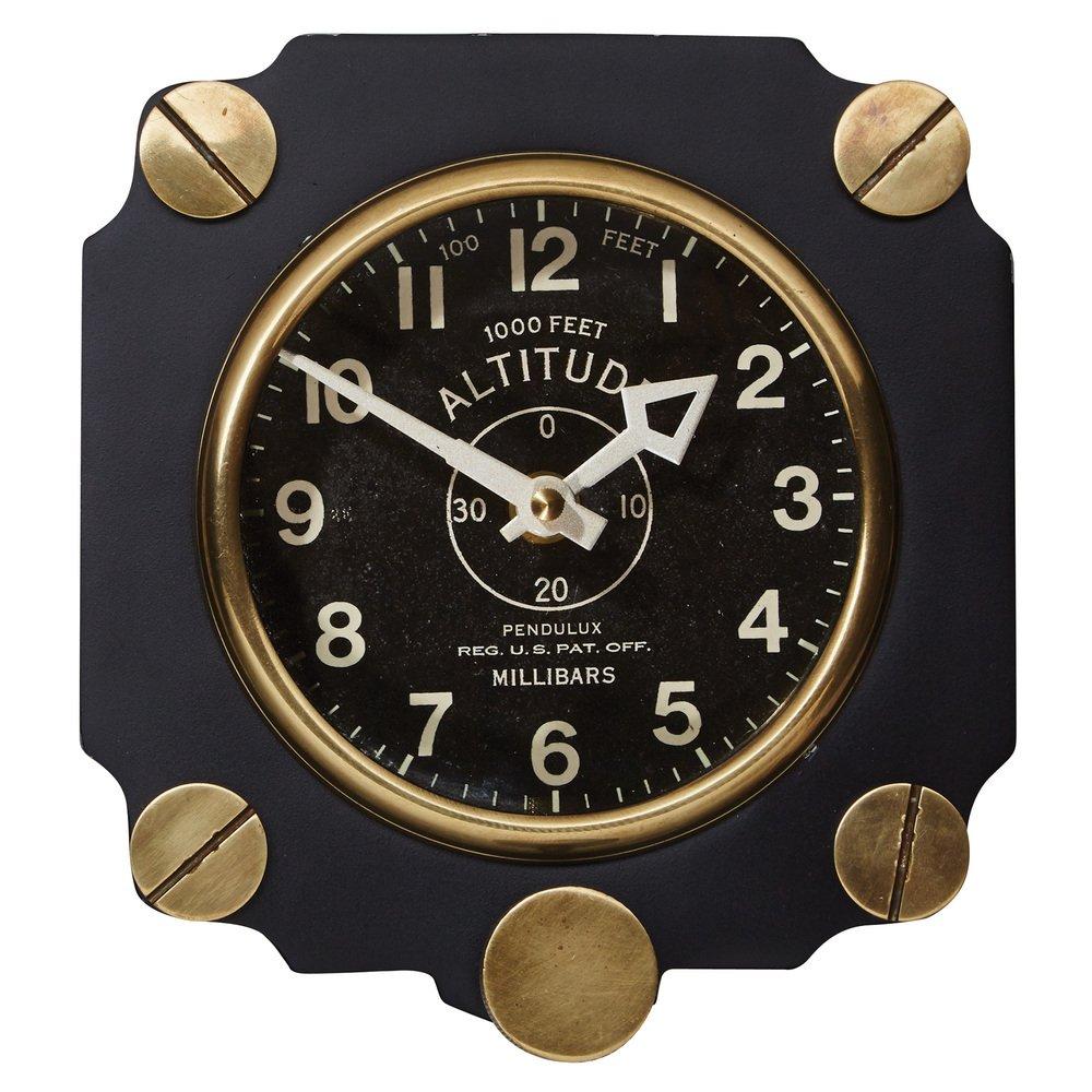 Pendulux Altimeter Decorative Wall Clock, Vintage Unique Wall Clock for Outdoor and Home Decor, Black - 7.5'' diameter