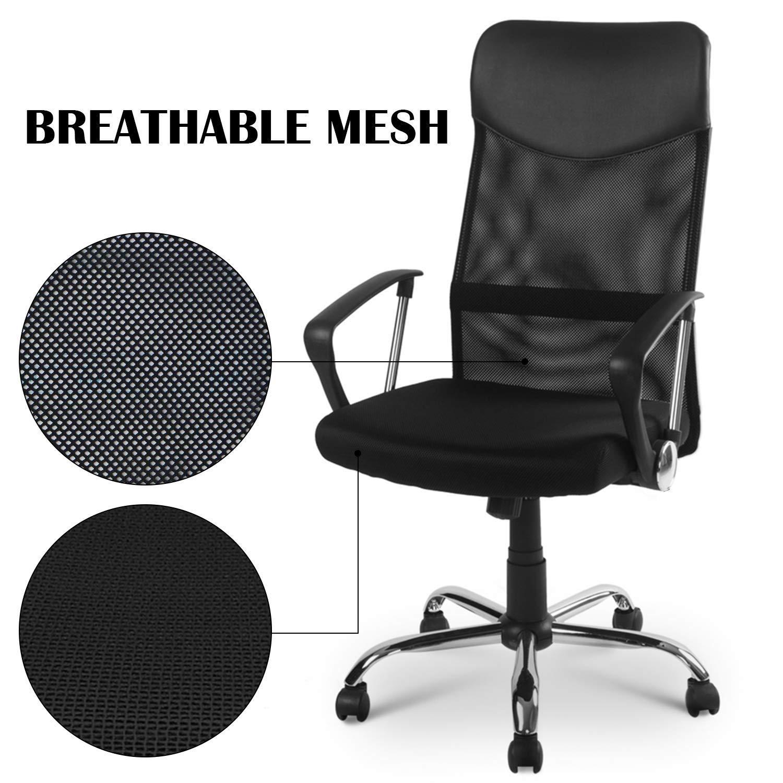 Kontorsstol, skrivbordsstol svängbar snyggt tyg nät kontorsmöbler excutive skrivbordsstol ny, nät hög rygg verkställande flera färger, svart (färg: svart) Svart