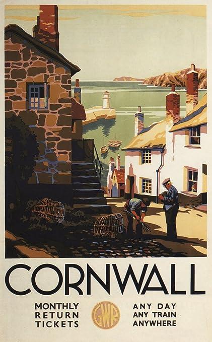 Amazon com: Cornwall, England - Street Scene with Two Men