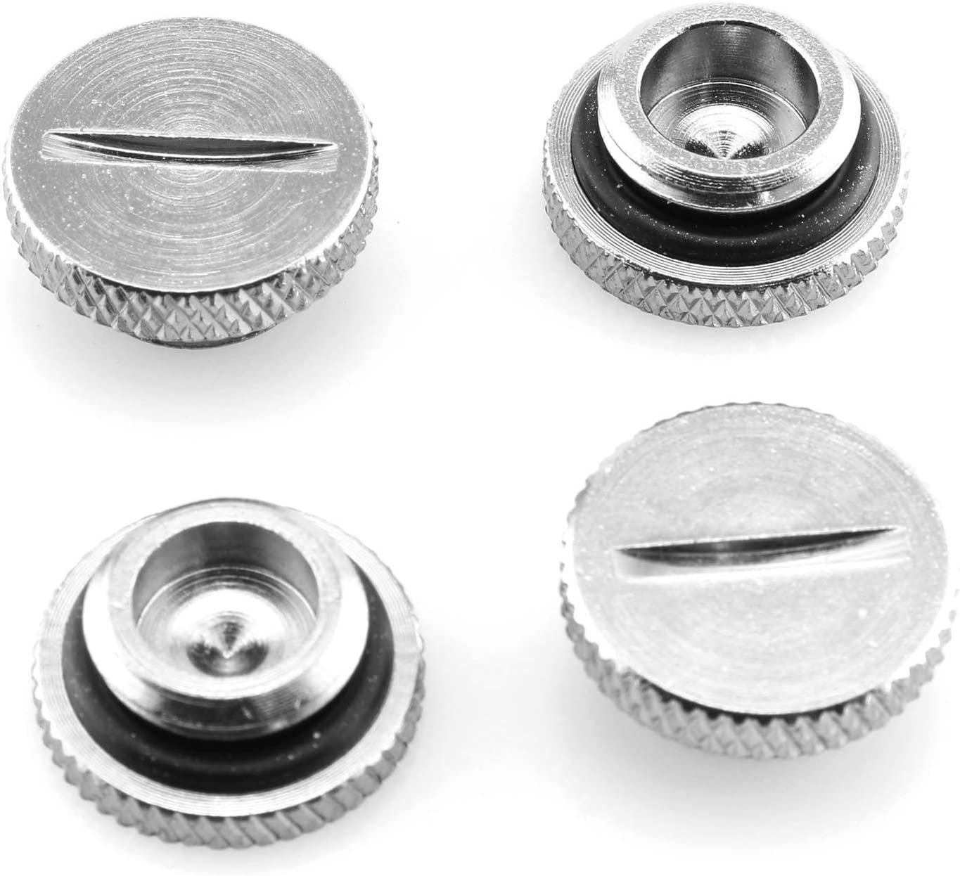 DGZZI G1/4Inch Stop Plug 4PCS G1/4 Thread Silver Plug with Sealing Ring for Computer Water Cool System