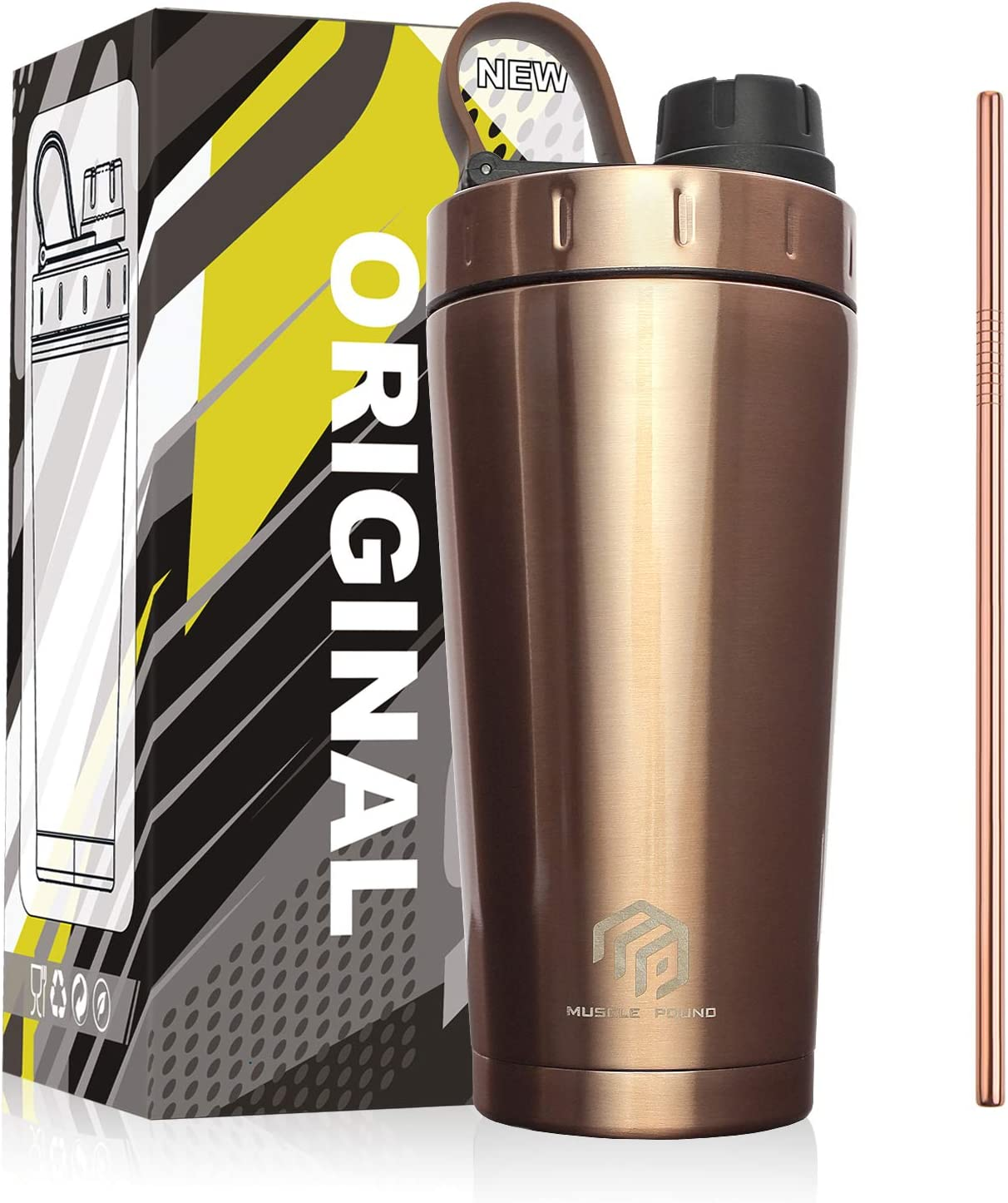 MUSCLE POUND Classic Insulated Stainless Steel Shaker Bottle For Protein Mixes, Double Wall, Leakproof, BPA Free, 20oz (Copper/Straw)