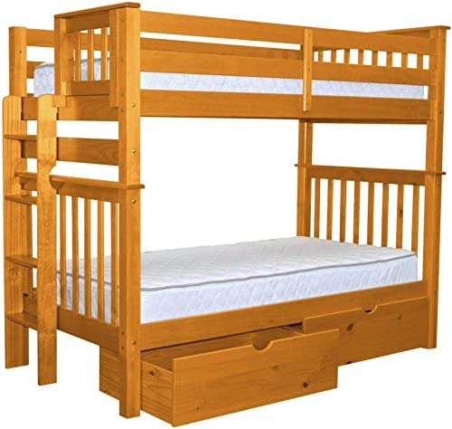 Bedz King Tall Bunk Beds Twin over Twin Mission Style with End Ladder and 2 Under Bed Drawers, Honey