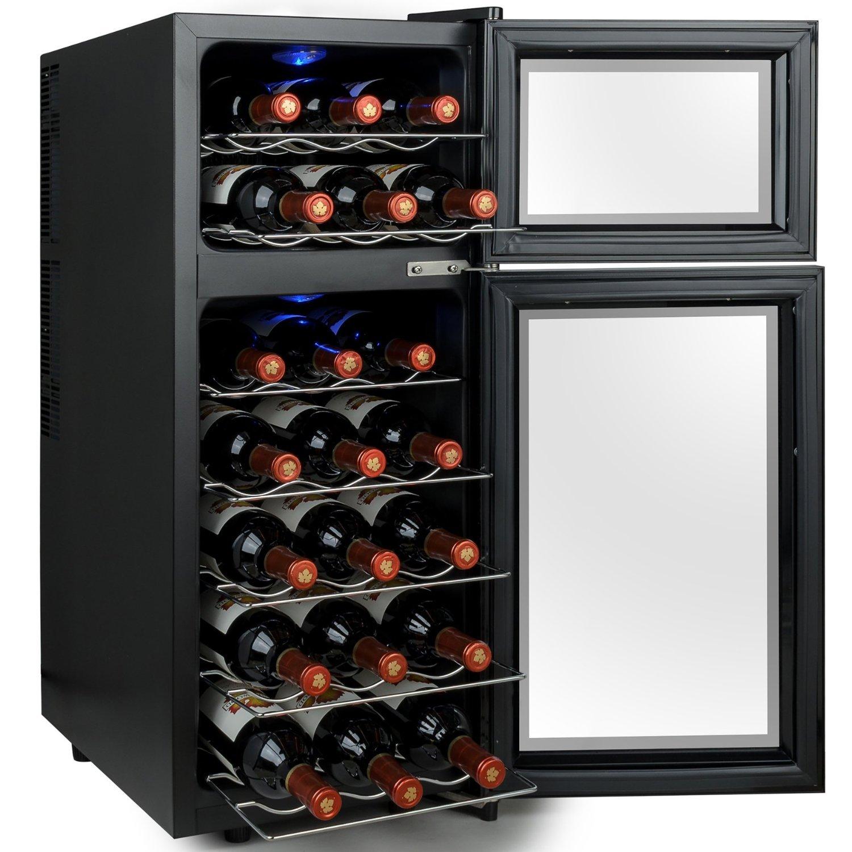 Kalamera KR-21A3JPE Streamline Dual Zone Wine Cooler,wine refrigerator for up to 21 bottles up to 310 mm height 7-18 /° C,Freestanding Wine fridge,black