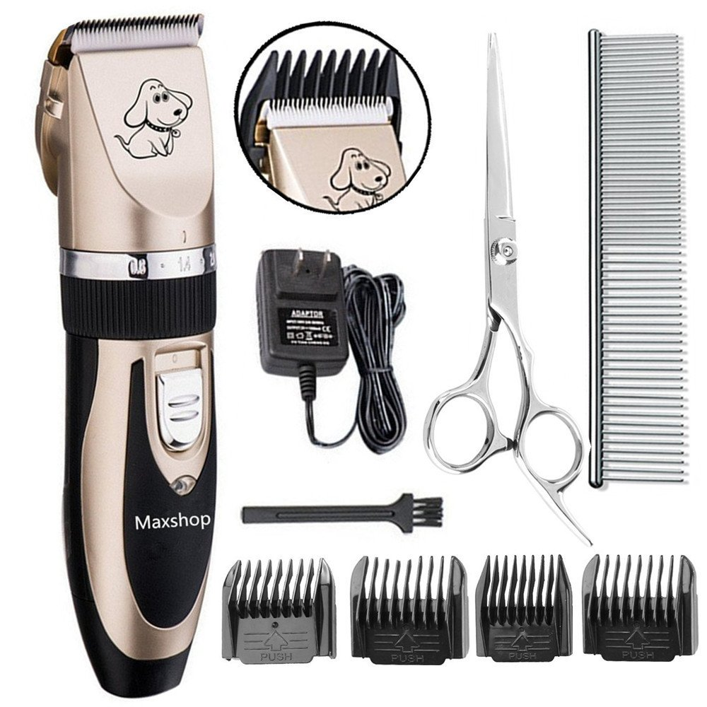 Maxshop Dog clippers Low Noise Rechargeable Cordless Pet Dogs and Cats Electric Grooming Trimming Kit Set (Gold+Black)