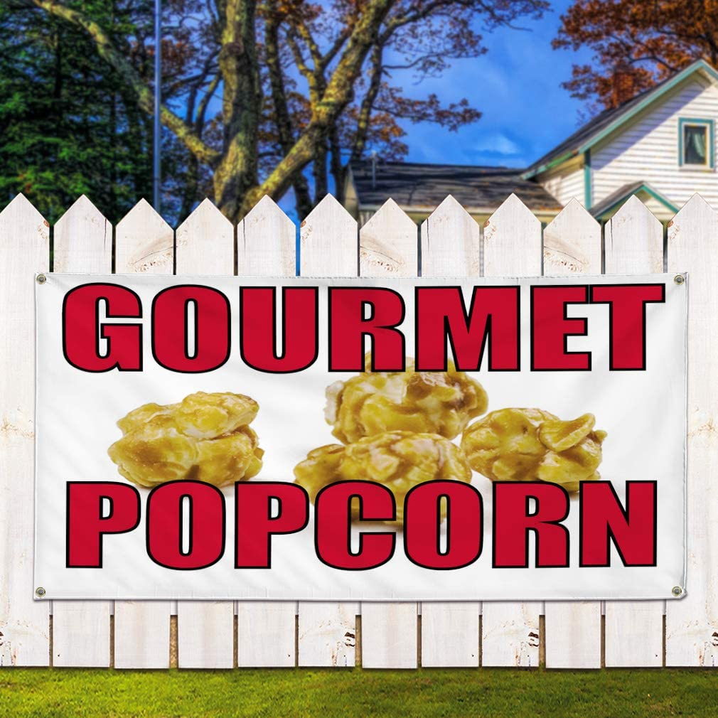 Many Sizes Available Store Popcorn 13 oz Heavy Duty Vinyl Banner Sign with Metal Grommets Flag, Advertising New