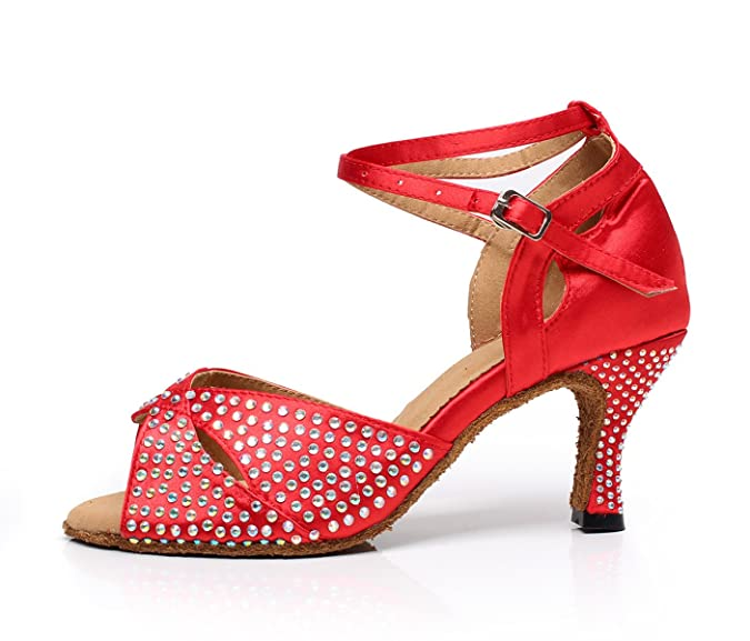 JSHOE Frauen Kristalle Sparking Satin Latin Salsa Tanzschuhe Tango/Tee/Samba /Modern/Jazz Schuhe Sandalen High Heels,Red-heeled7.5cm-UK4.5/EU36/Our37:  ...