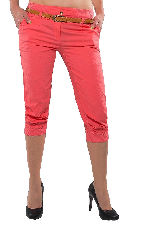 Boyfriend Women's Trousers 3 / 4 Length Capri Shorts Chino Trousers with Belt H眉fthose D-27