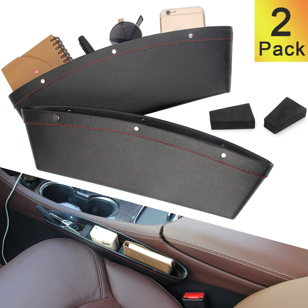 Coolrunner 2 Set Car Seat Gap Organizer, Car Seat Gap Filler, PU Full Leather Car Seat Crevice Storage Box Universal Fit in Between Car Seat Catcher for Phone Keys Cards Pens Coins(Black) by Coolrunner