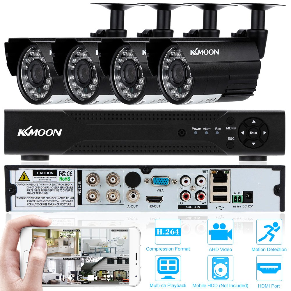 KKmoon 720P Home Security Surveillace DVR Kit 4CH CCTV DVR Security System P2P Cloud Onvif DVR 4pcs 720P Outdoor Bullet Camera 4pcs Cable  Weatherproof Plug and Play Motion Detection