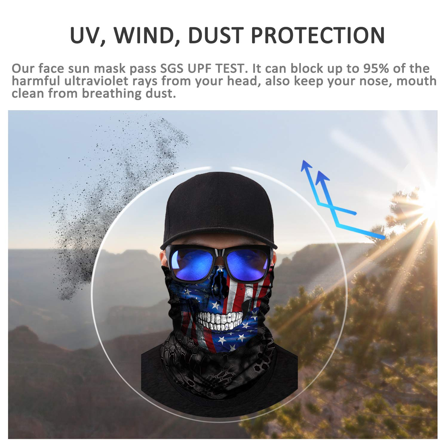3D Seamless Skeleton Half Face Bandanas Balaclava for Riding Hunting JOEYOUNG Motorcycle Skull Face Mask for Men Women UV Sun Mask Dust Wind Neck Gaiter Halloween Party Clown Headwear Tube Mask