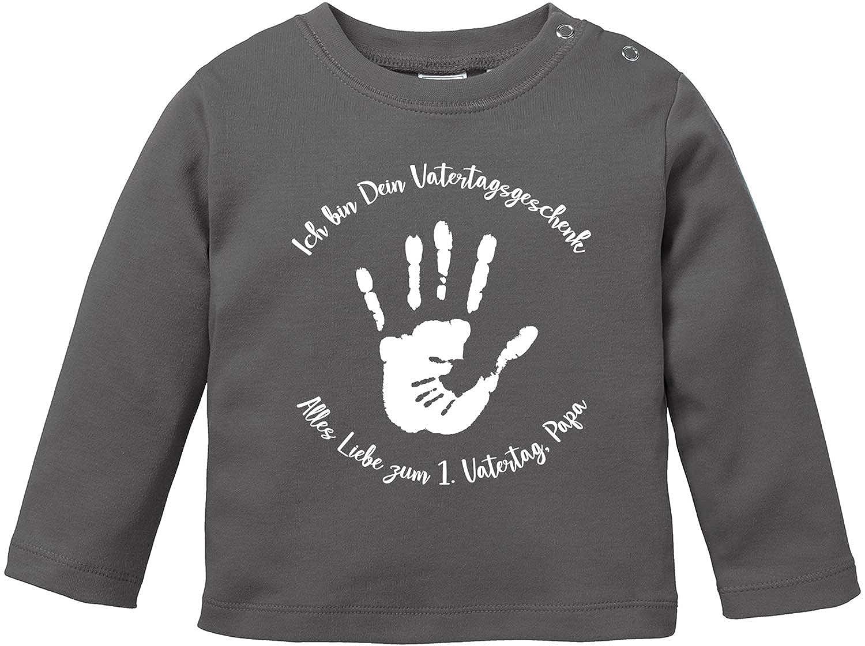 Vatertag Hand in Hand T-Shirt Baby Langarm Bio Baumwolle EZYshirt/® Vatertagsgeschenk Alles Gute zum 1