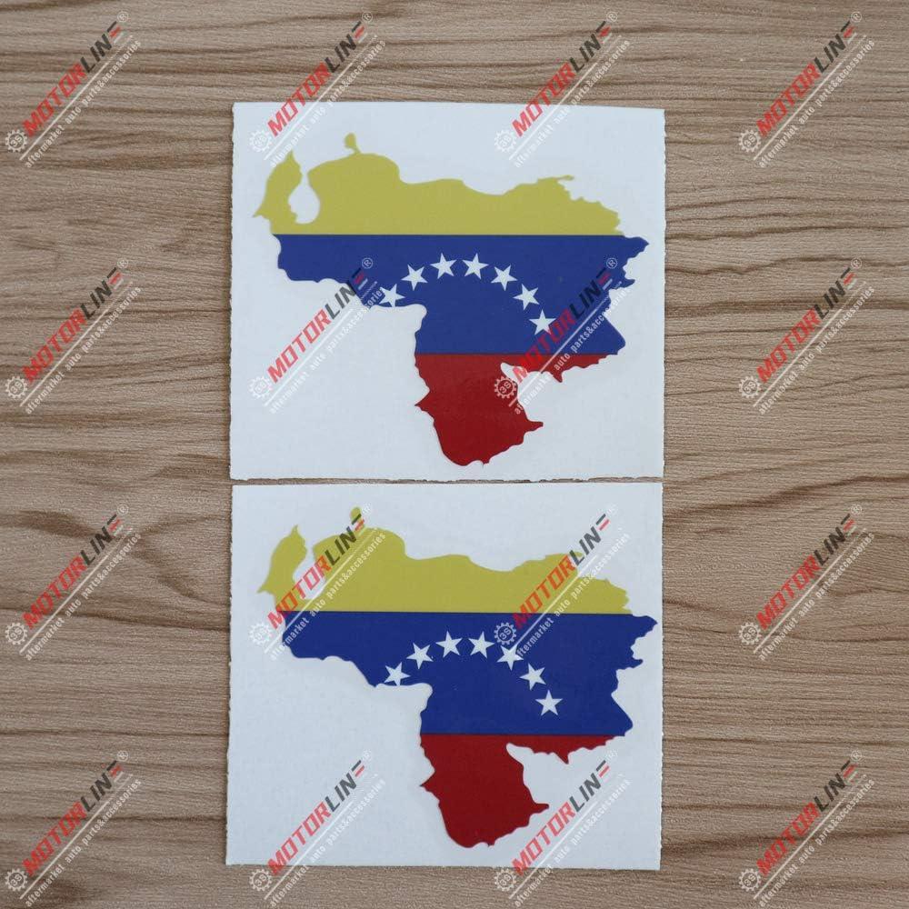 3S MOTORLINE 2X Glossy 4 Map Flag of Venezuela Decal Sticker Car Vinyl Printed