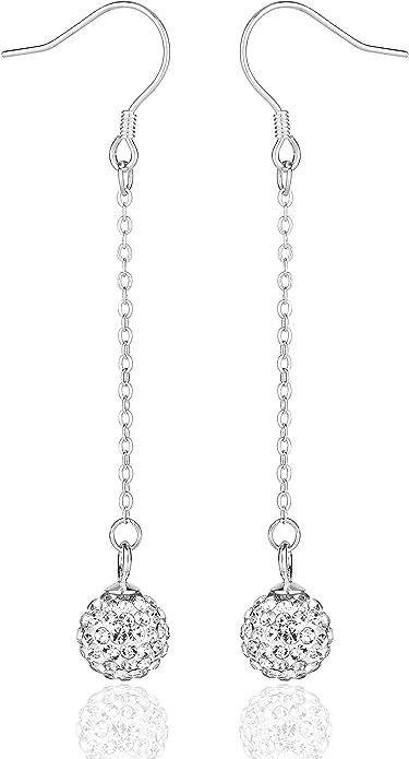 Disco Ball Beads Crystal Earrings Silver Earrings Wedding Accessories Red Disco Ball Earrings Red Crystal Earrings