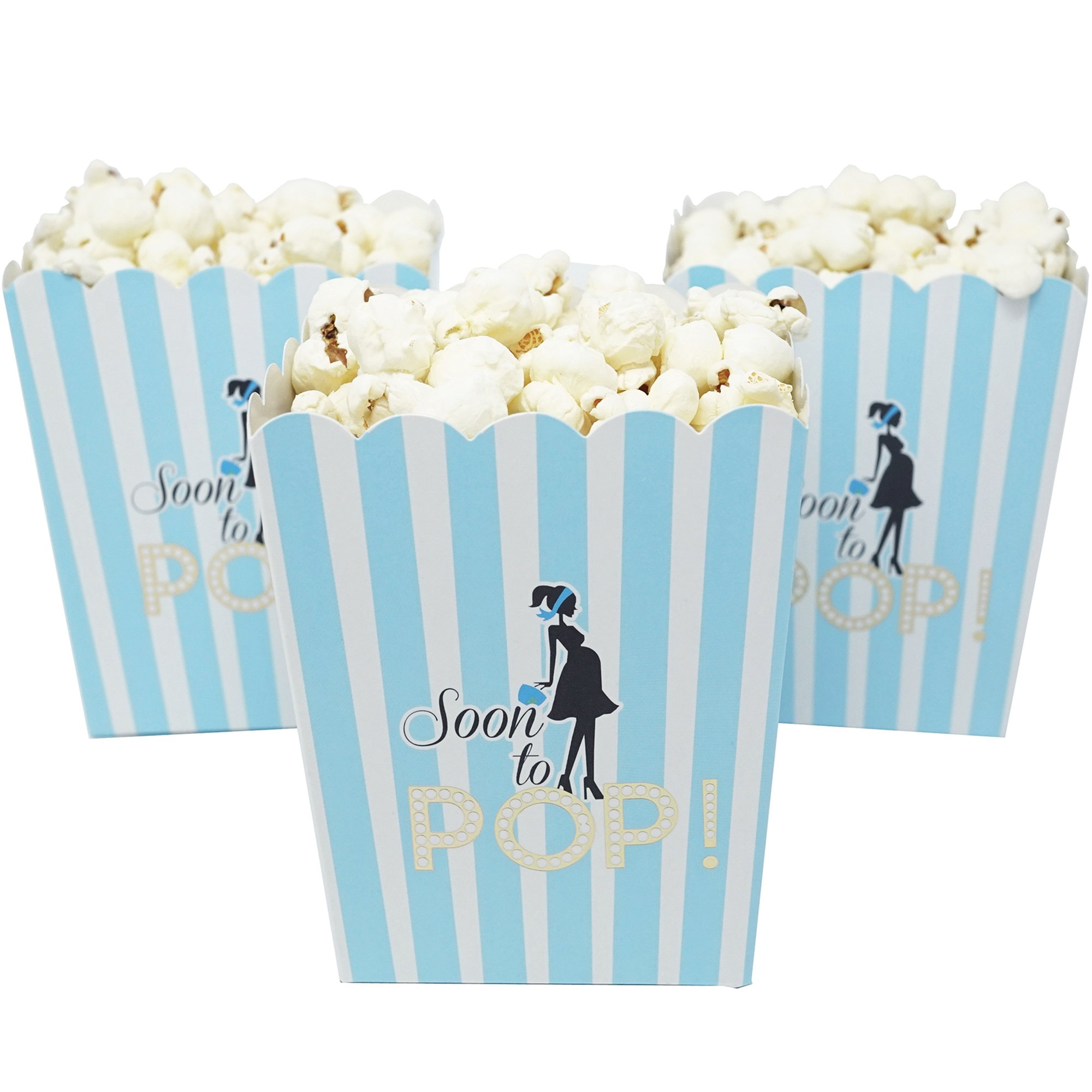 ''Soon to Pop'' Popcorn Favor Box for Baby Shower Party, Small Size, 20 Count by Chloe Elizabeth (Baby Blue)