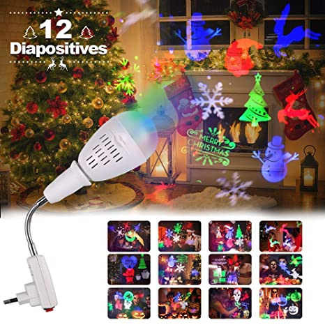 innoolight Proyector Navidad giratorio 360 grados, E27 lámpara de ...